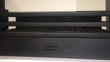 black rectangular fire box